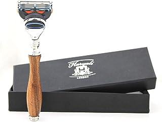 Haryali London Długa i ergonomiczna konstrukcja maszynka do golenia z drewna dla mężczyzn - 5-krawędziowe maszynki do gole...