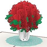 PaperCrush® Pop-Up Karte Rote Rosen - Handgemachte 3D