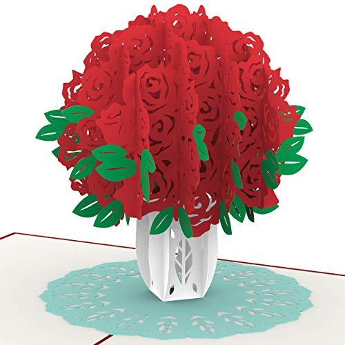 PaperCrush® Pop-Up Karte Rote Rosen - Handgemachte 3D Geburtstagskarte für Sie, Geschenkkarte mit Rosenstrauß - Blumen Glückwunschkarte für Frau oder Freundin (Geburtstag, Hochzeitstag, Jahrestag)