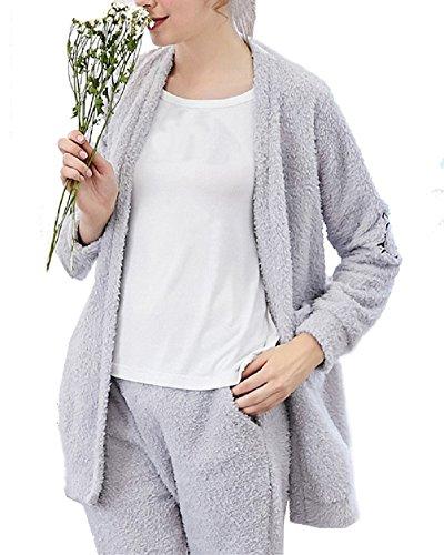 Conjunto de Pijama Manga Larga Estampado Ropa Interior Pijamas para Mujer Gris XL
