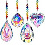 Mudder 4 Pieces Crystal Suncatcher Colorful Crystal Chandelier Pendant Dragonfly Rainbow Create Hanging Ornament Chakra Wall Hanging Tree Window Prism Ornament for Christmas Wedding Plants Cars Decor