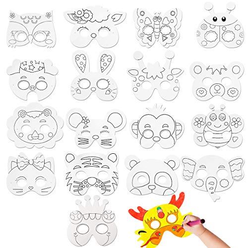 CIEOVO 18Pcs Kids DIY Blank Graffiti Children Paper Graffiti Masks to Decorate Bulk DIY Animal Craft Masks for Parties/Cosplay/Halloween/Kids