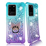 Samsung S20 ULTRA Clear Case, ZASE Liquid Glitter Sparkle Bling for Galaxy S20 ULTRA 5G 6.9-inch Cute Women Girls Floating 3D Butterflies Waterfall Quicksand w/Phone Ring Holder (Gradient Aqua Purple)