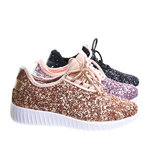Link Remy18k Rose Gold Lace up Rock Glitter Fashion Sneaker For Children/Girl/Kids, 1 Little Kid