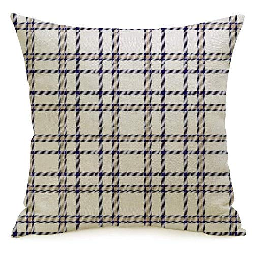 Staroden Decorative Linen Throw Pillow Cover British Table All Tartan Plaid White Cottage Pattern Celtic Rustic Checkered Check Golf Gingham Comfortabel Cushion Covers 16 x 16 Inches for Couch Chair