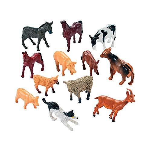 Fun Express - Vinyl Farm Animals - Toys - Character Toys - Action Figures - 12 Pieces