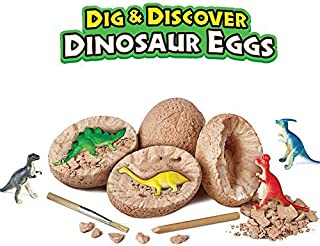 Likary 12 Pack Dino Eggs Dig Kit, Dinosaur Toy Set, Best Archaeology Science STEM Gift for Kids, Discover Cute Dinosaur with 12 Chiseling Tools