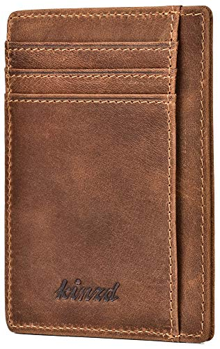 RFID Blocking Wallet Minimalist Slim Leather Credit Card...