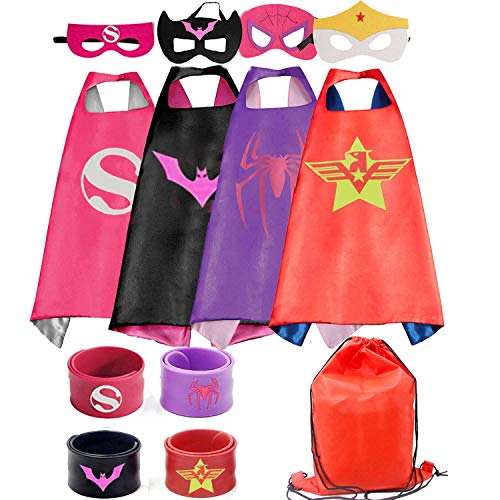 RioRand Kids Dress Up 4PCS Superhero Capes Set and Slap Bracelets forGirls Costumes Birthday Party Gifts