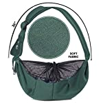 Puppy Eyes Pet Carrier Sling Ideal for Small & Medium Dogs, Cats or Rabbits up to 15 lb. Comfortable & Easy-Care | Free Seat Belt & Ebook | Adjustable & Reversible Design with Zippered Pocket 14