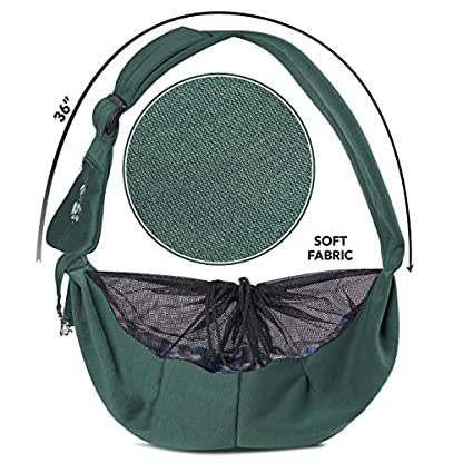 Puppy Eyes Pet Carrier Sling Ideal for Small & Medium Dogs, Cats or Rabbits up to 15 lb. Comfortable & Easy-Care | Free Seat Belt & Ebook | Adjustable & Reversible Design with Zippered Pocket 7