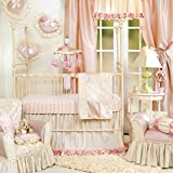 Crib Bedding Set by Glenna Jean   Baby Girl Nursery + Hand Crafted with Premium Quality Fabrics   Includes Quilt, Sheet and Bed Skirt with Pink and Ivory Accents