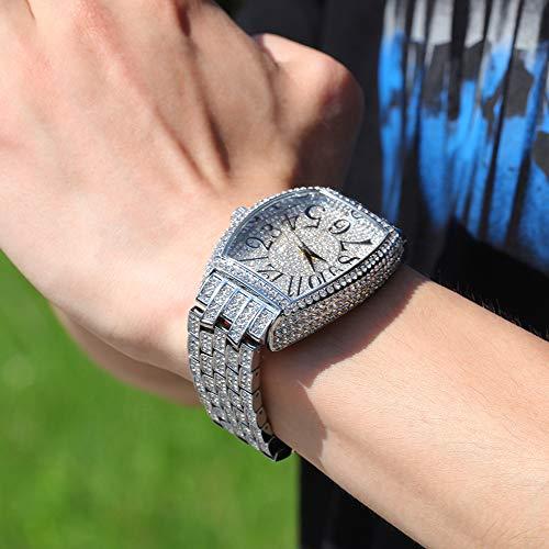 Reloj para hombre, diamantes de imitación de cristal, relojes de diamantes, reloj de pulsera de acero inoxidable, reloj helado con movimiento de cuarzo japonés