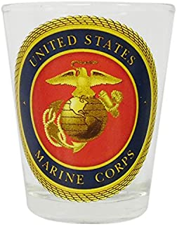 Gameday Outfitters 34744 Marines Logo Tabletop Shot Glass, Red