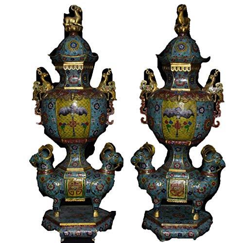 WEHOLY Statue Skulptur Dekoration Antike Sammlung Rotes Kupfer eingelegt Rubin Wasserhahn Krug Wasserkocher Home Teehaus Hotel Feng Shui Dekoration CrafGift