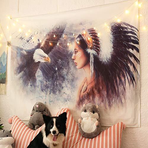 YSYYSH Dekorative Wand Hintergrund Tuch Wind Hängen Tuch Net Red Layout Zimmer Wand Tuch Schlafsaal Renovierung Nachttapisserie Schlafzimmer Indiana Wandbehang (Size : 150X130CM)