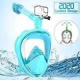 Elegear Máscara de Buceo del HD[2020 Nuevo], 180°Vista Máscara de Snorkel Anti-Niebla y Anti-Fugas con diseño panorámico de Cara Completa y Silicona FDA para Adultos y Niños(Verde,S/M)