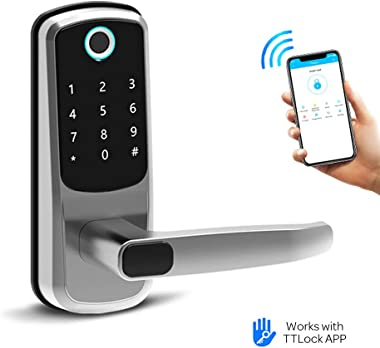 Smart Lock, CATCHFACE Digital Electronic Bluetooth Deadbolt Smart Lock with Fingerprint App Code and IC Card Mechanical Key,Keyless Entry Door Lock for Home Office Apartment Garage School Airbnb