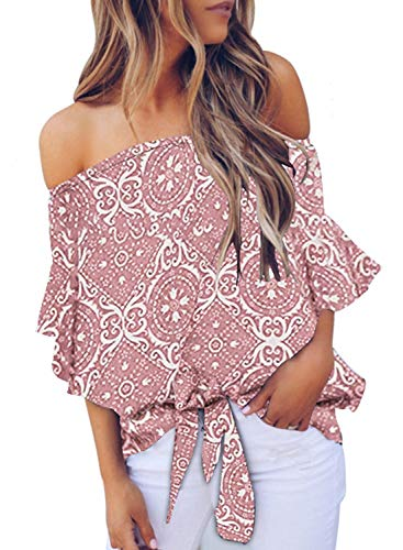 Asvivid Womens Sexy Off The Shoulder Tops Boho Tribal Floral Printed Bell Sleeve Blouses Knotted Front Casual T-Shirt L Pink