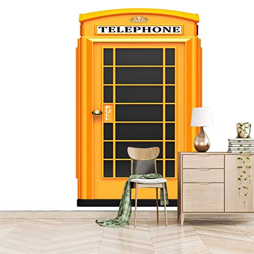 3D Wall Mural Wall paper Decals Wall Art Neutral Wall Mural 300x210cm White yellow street phone booth Peel and Stick Mural Print Deco Kids wallpaper Home Decor Indoor Office Business Deco custom size