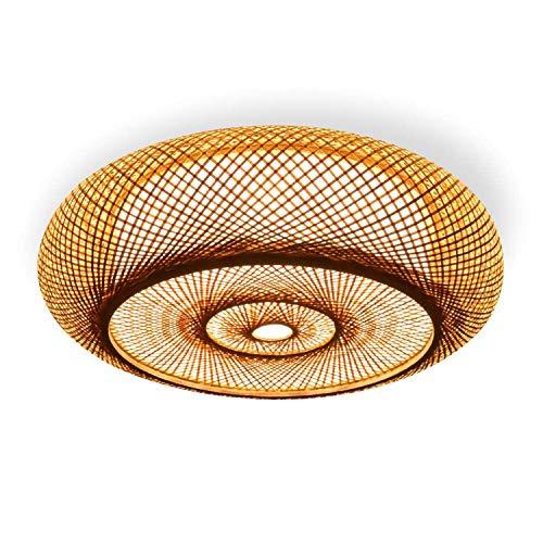 Deckenleuchte Bambus Handgewebte Natürlicher Rattan Pendellampe Deckenlamp, Kreative Handmade Lampenschirm Kronleuchter Für Restaurant Schlafzimmer, E27,40cm