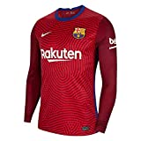 Nike 2020-2021 Barcelona Away Goalkeeper Football Soccer T-Shirt Jersey (Red)