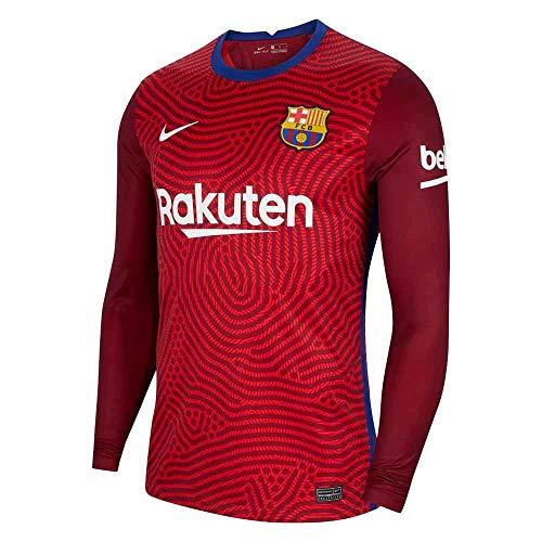 Nike 2020-2021 Barcelona Away Goalkeeper Football Soccer T-Shirt Jersey (Red)