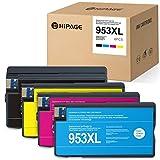 HIPAGE 4 Cartuchos de Tinta 953 953XL Compatible con HP OfficeJet Pro 7720 7730 7740 8210 8218 8710 8715 8720 8725 8730 8740 (Negro/Cian/Magenta/Amarillo)
