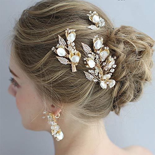 Anglacesmade - Juego de joyería para el pelo de novia, diseño floral, broche para el pelo y pasadores, pendientes colgantes con diamantes y hojas y flores