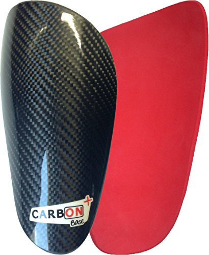Espinilleras Fibra Carbono Gama Base (S, Rojo)