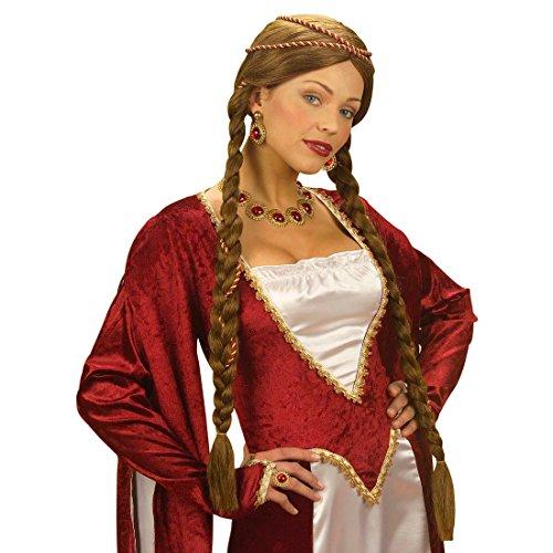 Medieval de la peluca para mujer en colour Burgfräulein Burg damisela peluca de la peluca de la Edad Media casi dama de noche