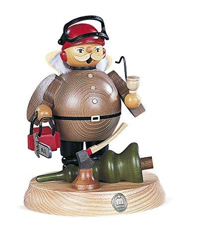 Duitse wierookroker Bos werker met elektrische zaag op steun, hoogte 18 cm / 7 inch, origineel Erzgebirge van Mueller Seiffen