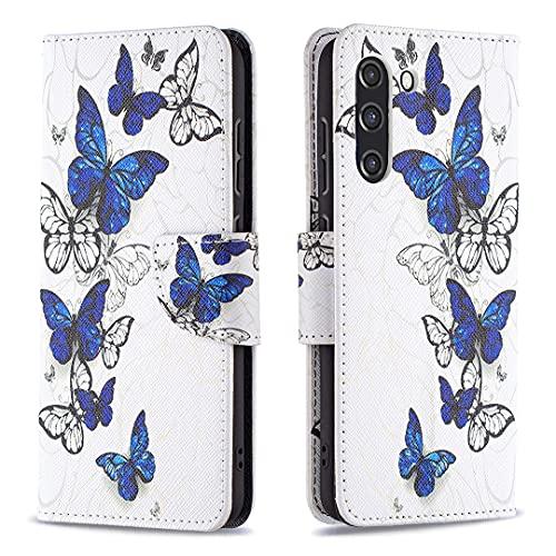 HSRWGD Galaxy S21 FE Funda con tapa para Samsung S21 FE Funda cartera, antigolpes, TPU protector (mariposa)