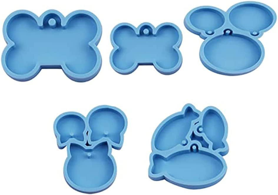 Yajom 5 Pieces Dog Bone mart Shaped Keych Resin All stores are sold Tag Cat Molds for