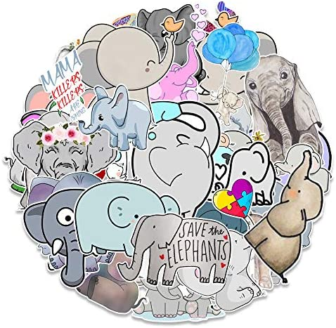 50 PCS Cute Elephant Laptop Stickers for Decoration Waterproof Kawaii Elephant Sticker Pack product image