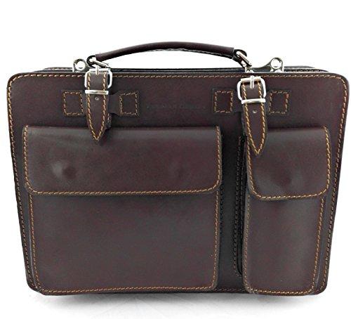 Zerimar Bolso Mensajero Piel   Messenger Bag   Bolso Bandolera Cuero   Satchel Bag   Satchel Cuero   Bolso Mensajero Vintage   Medidas: 34x25x10 cm