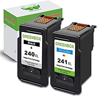 GREENBOX Remanufactured Ink Cartridge Replacement for Canon PG-240XL 240 XL CL-241XL 241 XL Used in Canon PIXMA MG3620 TS5...