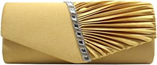 Clutch - Women's Pleated Satin Evening Bag, Clutch, Suitable for Weddings, Parties, Banquet, Cocktail Party (Color : Yellow)