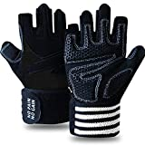 Weight Lifting Gloves for Women Men with Wrist Support Work Out Gym Gloves with Wrist Wraps Support, Anti-Slip Grip Half Finger Gloves for Exercise, Weightlifting (Black, M)