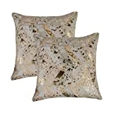 Set of 2, Natural Torino Chevron Handcrafted Soft Touch Natural Cowhide Pillow with Polyfil Insert and Zipper Closure, Natural & Gold, 18 in x 18 in