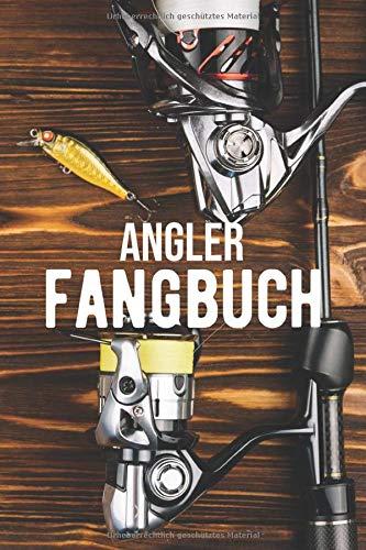 Angler Fangbuch: Liniertes Notizbuch ca A5 für Fischfang, Notizen, Skizzen, Zeichnungen, als Kalender oder Tagebuch; breites Linienraster; Motiv: Angel Angeln