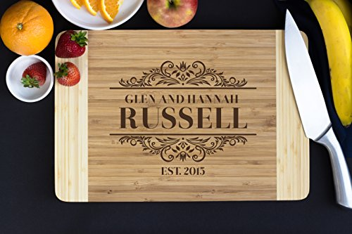 Personalized Cutting Board- Elegant Family Name, Christmas Gift, Wedding Gift, Housewarming Gift, Holiday Gift