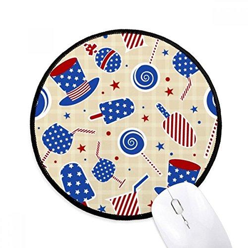 USA Hut Candy Ice Cream Star Festival Runde rutschfeste Mousepads schwarz genähte Kanten Game Office Geschenk