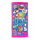 3C4G Camp Vibes Terry Cotton Velour Beach Towel, Pink