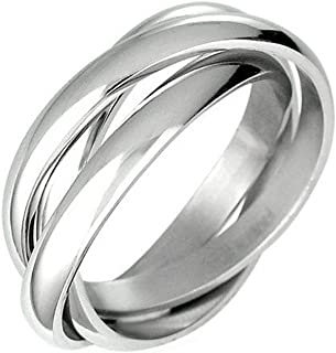 iJewelry2 Triple Russian Interlocked Stainless Steel Men Unisex Wedding Band Rings