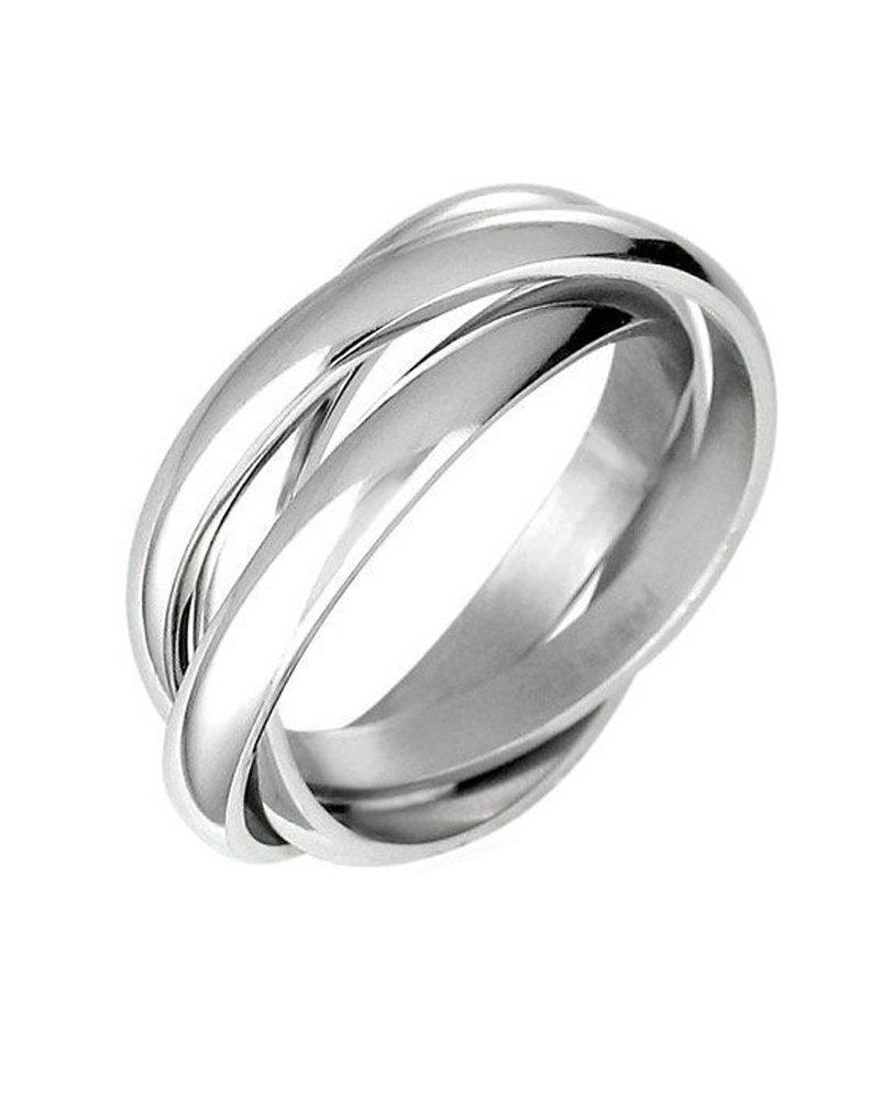 Triple Russian Interlocked Stainless Steel Men Unisex Wedding Band Rings