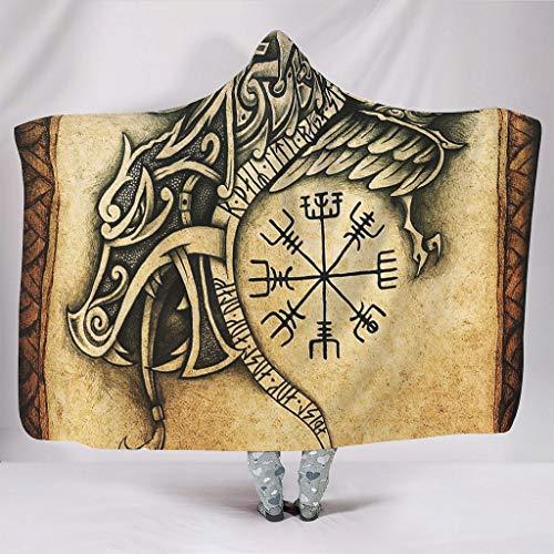 Wandlovers Vegvisir Fathurk - Manta con capucha y diseo de dragn vikingo, suave, con estampado tribal, forro polar, 130 x 150 cm, color blanco