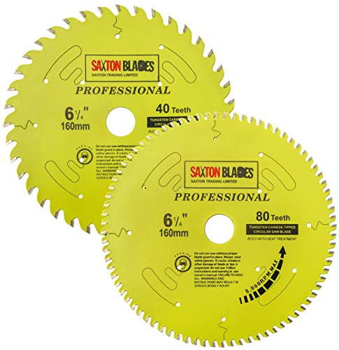 TCT160MXAPRO Saxton Professional Range TCT Circular Saw Blade 160mm 40 and 80T x 20mm Bore, 16mm Ring Compatible with Festool TS55 Bosch Makita Dewalt etc (Pack A)