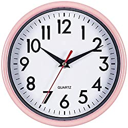 Bernhard Products Pink Wall Clock 8 Silent Non-Ticking Quality Quartz Battery Operated Round Clock for Kitchen/Classroom/Nursery Room/Kids/Girls Bedroom Easy to Read (Pink)