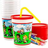 Spill-Resistant, Dishwasher-Safe Kids Party Cups With Lid and Straw 10 Pack. BPA Free Material is...